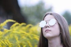 Girl in fashion sunglasses stock photo