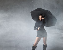 Girl fashion with umbrella Royalty Free Stock Images