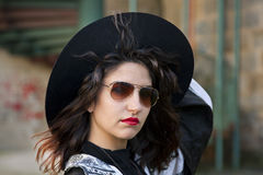 Girl with fashionable hat Royalty Free Stock Images