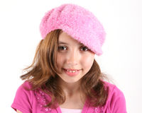 Girl in fashionable pink hat Stock Photography
