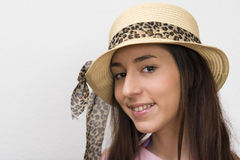 Girl in fashionable straw hat Royalty Free Stock Photos