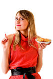 Girl with fast food Royalty Free Stock Images