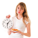 Girl with fast food Stock Images