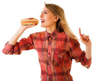 Girl with fast food Royalty Free Stock Photo