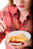 Girl with fast food Stock Photo