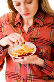 Girl with fast food Stock Photography