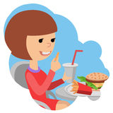 Girl with fast food in hands. Stock Image