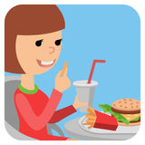 Girl with fast food in his hands. Royalty Free Stock Photo