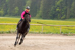 Girl is fast riding Royalty Free Stock Photo