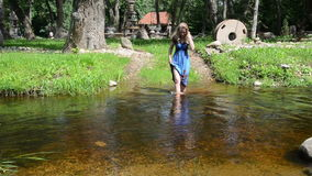 Girl fast river stock video