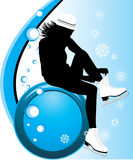 Girl fasten the figure skates. Composition for card. Illustration Stock Photo