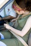Girl Fastens Seatbelt Royalty Free Stock Photos