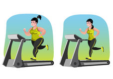 Girl fat before and after. Simple cartoon of a woman jogging, before and after exercise concept Stock Images