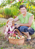 Girl and father in garden Stock Photography