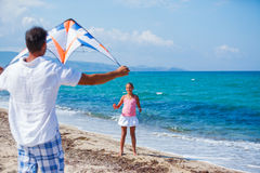 Girl and father with kite Royalty Free Stock Images