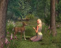 Girl and Fawns. Digital render of a blonde girl and two fawns in a woodland glade stock illustration