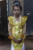Girl in feast dress Royalty Free Stock Photos