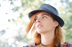 Girl with fedora hat Royalty Free Stock Photos