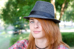 Girl with fedora hat Royalty Free Stock Image