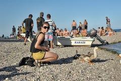 Girl feeding ducks at the beach turkey Stock Photos