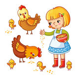 Girl feeding hens and chickens. Girl feeding hens and chickens on a white background. Vector illustration in childrens, cartoon style Stock Photos