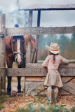 Girl feeding her horse. Cute girl feeding her horse in paddock Royalty Free Stock Photo