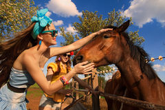 Girl feeding her horses Royalty Free Stock Photo