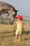 Girl feeding horse on natural background Royalty Free Stock Image