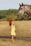 Girl feeding horse on natural background stock photo