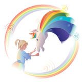 Girl feeding a horse out of the hands. Child and a horse with a mane of rainbow colors Stock Images