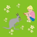Girl feeding kangaroo Royalty Free Stock Photo