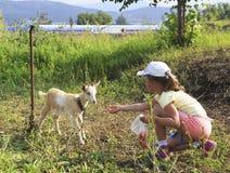 Girl feeding a kid. Little girl feeding a kid Royalty Free Stock Images