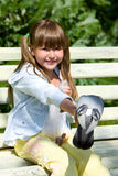 Girl Feeding Pigeon Stock Images