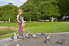 A girl is feeding the pigeons in the park. Royalty Free Stock Image