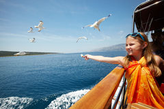 Girl feeding the seagulls royalty free stock images