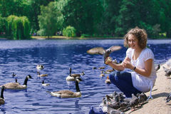 Girl feeds birds Stock Image