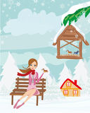 Girl feeds the birds in winter. Vector Illustration Royalty Free Stock Image