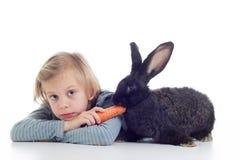 Girl feeds pet rabbit. Little girl feeding baby rabbit with carrot on white background Stock Photos