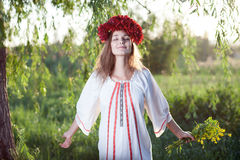 Girl feel free. Ukrainian girl feel free emotion stock photos