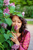 Girl feel pleasant aroma Stock Photos