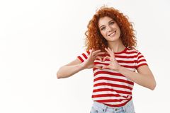 Girl feeling love affection show boyfriend heart sign smiling silly tilting head grinning look touched contemplating. Lovely gentle scene, standing white royalty free stock photography