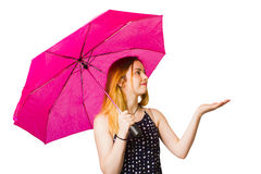 Girl feeling the rain when living in the moment Stock Photography
