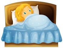 Girl feeling sleepy in bed Stock Photos