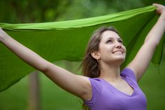 Girl feeling the wind Royalty Free Stock Photo