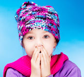 Girl feels cold Stock Images
