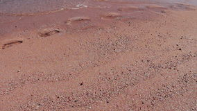 Girl feet leave footprints on the beach stock footage