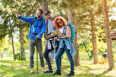 Girl with fellows look at map in forest Royalty Free Stock Image