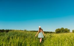 A girl female in a blue dress with a tall grass walking the field and touching her hand of the spikelets royalty free stock photography