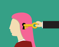 Girl and female psychology, Unlock and Read minds Stock Photos