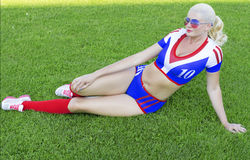 The girl from female support group of the American soccer Stock Photography
